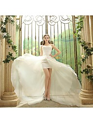 Sheath / Column Wedding Dress Asymmetrical Strapless Organza with Appliques