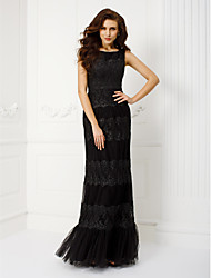 TS Couture Prom Formal Evening Military Ball Black Tie Gala Dress - Elegant Vintage Inspired Sheath / Column Scoop Floor-length Tulle with
