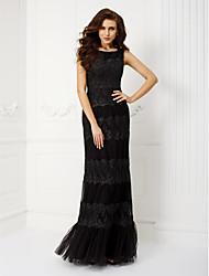 Ball / Formeller Abend / Militär Ball / Gala Kleid - Elegant / Vintage inspiriert Eng anliegend Rundhalsausschnitt Boden-Länge Tüll mit