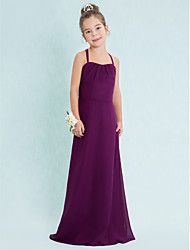Lanting Bride® Floor-length Chiffon Junior Bridesmaid Dress Sheath / Column Spaghetti Straps with