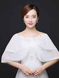 Wedding  Wraps Capelets Sleeveless Lace / Tulle Ivory Wedding / Party/Evening Bateau Lace / Rhinestone Clasp