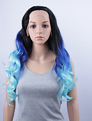 New Fashion Synthetic Wigs Lace Front Wigs  32inch Body Wave Black/Blue Heat Resistant Hair Wigs Women