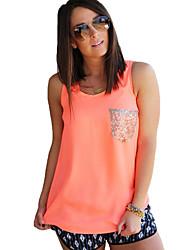 Damen Einfarbig Einfach / Street Schick Lässig/Alltäglich T-shirt,Rundhalsausschnitt Ärmellos Blau / Orange Polyester Dünn