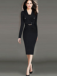 Women's Sexy Solid Shift Dress , Shirt Collar Knee-length Polyester