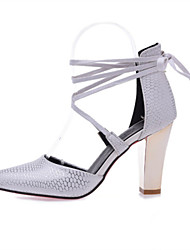Women's Shoes Customized Materials / Leatherette Chunky Heel Heels / Pointed Toe Heels Wedding / Dress /  Red / White /