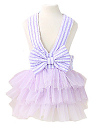 Dog Dress / Clothes/Clothing Blue / Pink / Purple Summer / Spring/Fall Stripe / Bowknot Fashion