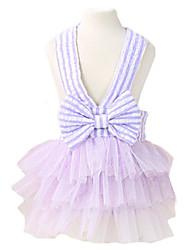 Chien Robe Vêtements pour Chien Mode Bande Nœud papillon Violet Bleu Rose