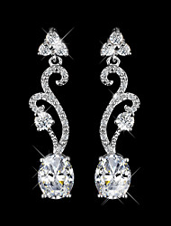 Copper Drop Earrings New Design White Zircon Earrings Gold Plated Women Crystal Jewelry