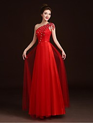 Prom / Formal Evening Dress A-line One Shoulder Floor-length Lace / Satin / Tulle with Appliques / Beading / Sash / Ribbon