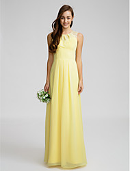 Lanting Bride® Floor-length Chiffon Bridesmaid Dress - Sheath / Column Jewel with Lace