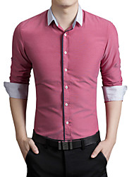 Men's Long Sleeve Shirt , Cotton / Acrylic Work / Formal Plaids & Checks k115