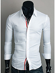 Shirts Tuxedo (Wing Collar) Long Sleeve Cotton Solid White / Navy