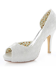 Women's Wedding Shoes Heels / Peep Toe / Round Toe Sandals Wedding / Party & Evening / Dress Ivory