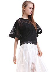 Women's Casual/Daily Simple Blouse,Solid Round Neck Short Sleeve White / Black Silk Translucent