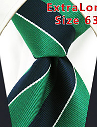 Men's Tie Green  Stripes 100% Silk Business  Dress Casual Long