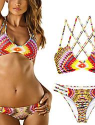 Femme Bohème Bikinis Aux s Couleur Pleine Sans Armature/Soutien-gorge Sans Rembourrage Bandeau Nylon/Spandex