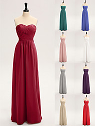 Lanting Floor-length Chiffon Bridesmaid Dress-Silver Sheath/Column Strapless