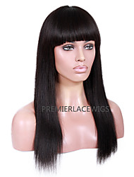 2016 Hot New Hot Unprocessed  Straight With Bang 6-26 Inches 8A Brazilian Virgin Human Hair Full Lace Front Wigs