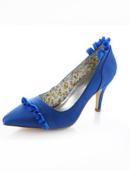 Women's Spring Summer Fall Stretch Satin Wedding Party & Evening Dress Stiletto Heel Ribbon Tie Royal Blue