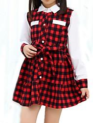 Vestido Chica de-Verano / Primavera-Algodón-Negro / Rojo