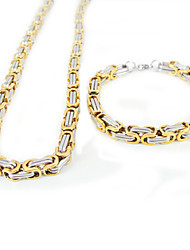 Fashion Men's Gold-silver Stainless Steel Necklace and Bracelets Jewelry Sets