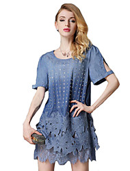 Women's Going out Street chic Plus Size Dress,Solid Round Neck Above Knee Short Sleeve Blue Cotton Summer
