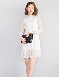 Women's Casual / Day Solid Lace Dress , Crew Neck Mini Polyester