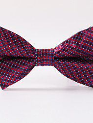 Wine Red Grid Formal Bow Tie