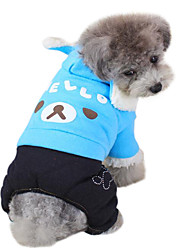 Dog Hoodie / Clothes/Jumpsuit Green / Blue / Purple Dog Clothes Winter Cartoon / Animal Fashion