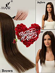 "22"" 4# Dark Brown Tape in Skin Weft Hair Extensions in Double Tape 20 Pieces"