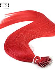 "neitsi® 20 ""1 g / s nano Ringschleife gerades Haar 100% Echthaar Extensions rot schließen Haar-Tools"