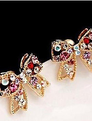Stud Earrings Gemstone Cubic Zirconia Simulated Diamond Alloy Gold Rainbow Jewelry 2pcs