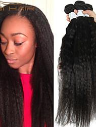 3 faisceaux Kinky cheveux humains peruvian non transformés peruvian vierge armure de cheveux yaki de qualité supérieure droite droite