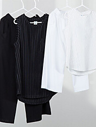 Girl's Black / White Clothing Set,Striped Cotton / Spandex Summer