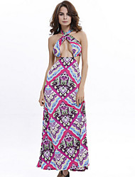Women's Sexy / Holiday Print Sheath Dress , Halter Maxi Rayon / Polyester