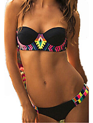 Venus Queen Women's Tube top vertical stripes colorful printed bikini