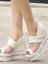 Women's Shoes Tulle / Leatherette Wedge Heel Wedges / Peep Toe Sandals Office & Career / Dress /  Pink / White