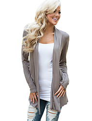 Women's Going out Simple / Street chic Wrap,Color Block Asymmetrical Long Sleeve Gray Cotton Medium