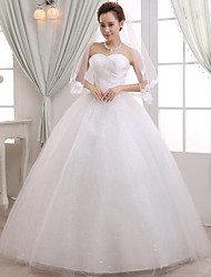 A-line Wedding Dress Floor-length Sweetheart Lace / Satin with Beading / Lace / Sash / Ribbon