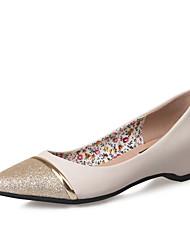 Damen-High Heels-Lässig-KunstlederKomfort-Schwarz / Weiß / Silber / Mandelfarben
