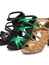 Customizable Women's Dance Shoes Latin / Salsa / Samba Satin Customized Heel Black / Yellow / Green