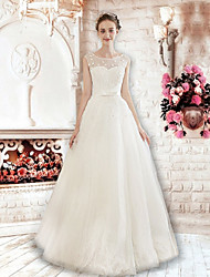 A-line Wedding Dress Floor-length Jewel Lace / Tulle with Appliques / Pearl