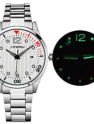 Masculino Relógio de Moda Quartz Aço Inoxidável Banda Relógio de Pulso Prata