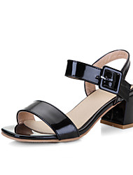 Women's Shoes Leatherette Chunky Heel Heels Sandals Casual Black / Pink / White / Nude