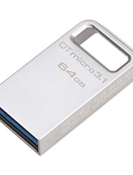 Original Kingston 64GB Digital  DTMicro USB 3.1/3.0 Type-A Metal Ultra-Compact Flash Drive (DTMC3/100M/S)