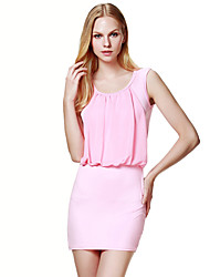 Women's Sexy / Simple Solid Bodycon / Chiffon Dress , Round Neck Mini Others
