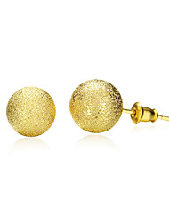 18K Gold Plated Stud Earrings 1.2cm Frosted Round Earring with Back Stoppers Fashion Jewelry(Color:Gold)