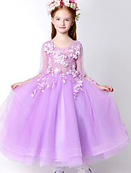 A-line Ankle-length Flower Girl Dress - Tulle Half Sleeve