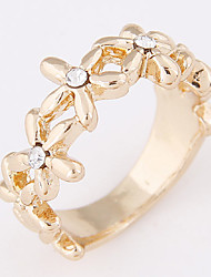 Women's Korean Fashion Sweet Simple Bauhinia Flower Rhinestone Band Ring