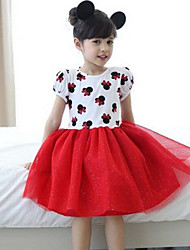 Girl's Pink / White Dress,Print Cotton Summer